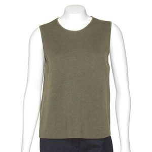 Eileen Fisher Olive Green Wool Knit Top